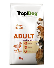 TROPIDOG Premium Adult SMALL BREEDS with DUCK & RICE 8kg