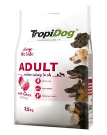 TROPIDOG Premium Adult M&L für mittlere & große Rassen mit Truthahn & Reis 2,5kg