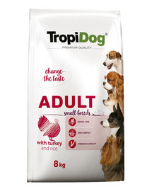 TROPIDOG Premium Adult S für kleine Rassen mit Truthahn & Reis 8kg