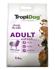TROPIDOG Premium Adult SMALL BREEDS with LAMB and RICE 2,5kg