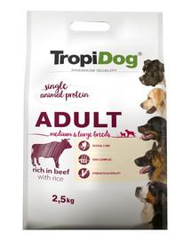 TROPIDOG Premium Adult MEDIUM & LARGE BREEDS Rich in BEEF, with RICE 2,5kg
