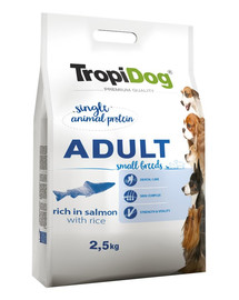 TROPIDOG Premium Adult SMALL BREEDS Rich in SALMON with RICE 2,5 kg