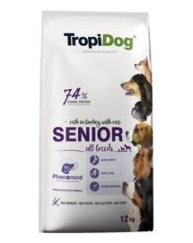 TROPIDOG Premium Senior Turkey&Rice 12kg