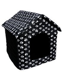 PETSBED Hundebett Hundehöhle Pfotenmotiv Schwarz 44 x 38 cm