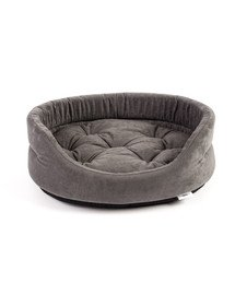 FERA ovales Hundebett mit Kissen 66x55x17 cm grau