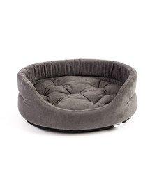 FERA ovales Hundebett mit Kissen 47x38x15 cm grau