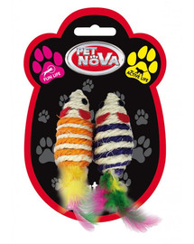 PET NOVA Katzenspielzeug Maus Set 2 vielfarbige Sisalmäuse 7x3cm