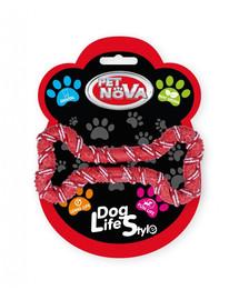 PET NOVA DOG LIFE STYLE Kauspielzeug Seil Knochen, Minze Aroma 20cm rot
