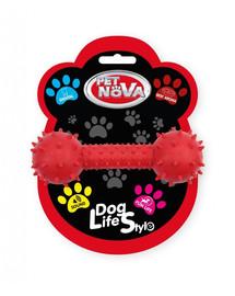PET NOVA DOG LIFE STYLE Kauspielzeug Hantel mit Glocke Rindfleisch Geschmack 14cm Rot