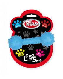 PET NOVA DOG LIFE STYLE Kauspielzeug Hantel mit Glocke Rindfleisch Geschmack 14cm Blau