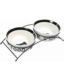 TRIXIE Keramik-Napf-Set Eat on Feet 2 × 1,6 l/ø20 cm, schwarz/weiß