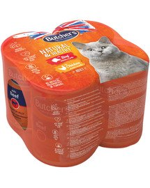 BUTCHER'S Natural&Healthy Cat Rindfleisch und Hühnchen 4x400 g