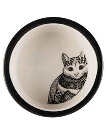TRIXIE Keramiknapf mit Katzenmotiv 0.3 l