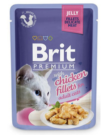 BRIT Premium Cat Pouch with Chicken Fillets in Jelly for Adult Cats 85 g