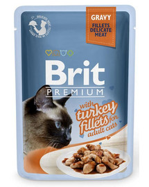 Brit Premium Cat Pouch with Turkey Fillets in Gravy for Adult Cats 85g