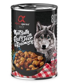 ALPHA SPIRIT Meat Balls Red Deer & Rosemary   Fleischbällchen mit Rotwild und Rosmarin 400 g