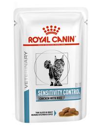 ROYAL CANIN Cat SENSITIVITY CONTROL Huhn mit Reis Katze - Feine Stückchen in Soße 12 x 85g