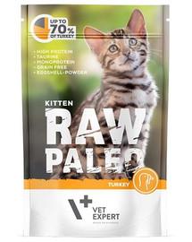 VETEXPERT Katzen-Nassfutter Raw Paleo Kitten Truthahn 100g