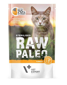 VETEXPERT Katzen-Nassfutter Raw Paleo Sterilised Truthahn 100G