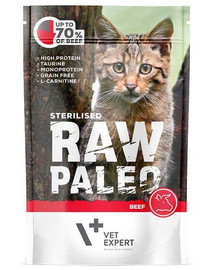 VETEXPERT Katzen-Nassfutter Raw Paleo Sterilised Rind 100G