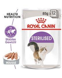 ROYAL CANIN STERILISED Nassfutter in Mousse für kastrierte Katzen 12x85g