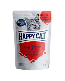 HAPPY CAT Meat in Sauce Adult Veal & Liver (Kalb & Leber) 85 g