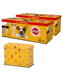 PEDIGREE Adult Hundenassfutter für ausgewachsene Hunde im Portionsbeutel verschiedene Sorten 80x100g + Geschenk