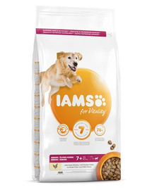 IAMS for Vitality Senior für ältere Hunde großer Rassen mit frischem Huhn 12 kg