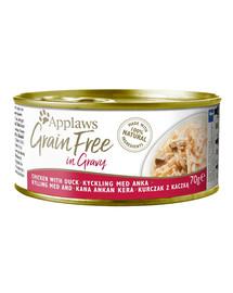APPLAWS Cat Tin Grain Free Huhn & Ente Nassfutter für Katzen in Sauce 70 g x 12 (10+2 FREE)