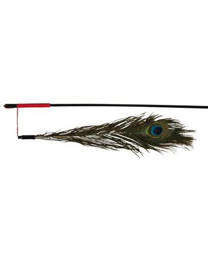TRIXIE Spielangel mit Pfauenfeder, 47 cm