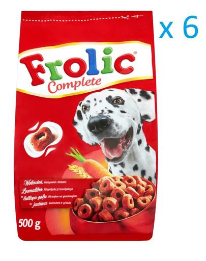 FROLIC Hundefutter Trockenfutter mit Rind, Karotten und Getreide 2 kg x6 31294