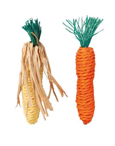 TRIXIE Set Stroh-Spielzeug Maiskolben und Karotte