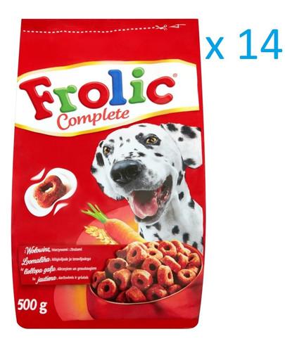 FROLIC Hundefutter Trockenfutter mit Rind, Karotten und Getreide 500g x16