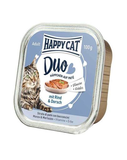 HAPPY CAT Duo Häppchen auf Paté mit Rind & Dorsch 100 g