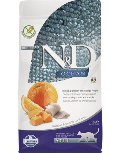 FARMINA N&D Ocean Katze Kabeljau, Dinkel, Hafer & Orange Adult 1,5 kg 50542