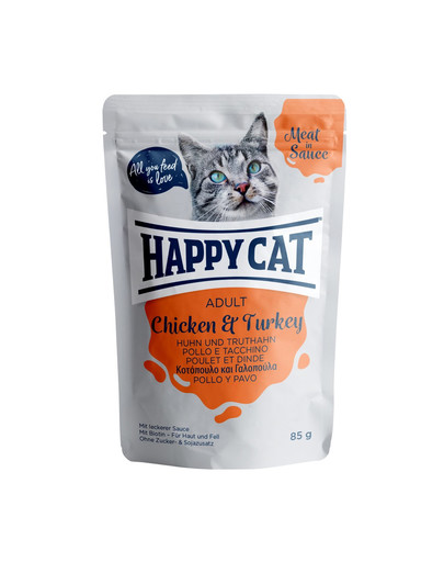 HAPPY CAT Meat in Sauce Adult Chicken & Turkey (Huhn & Truthahn) 85 g 52837