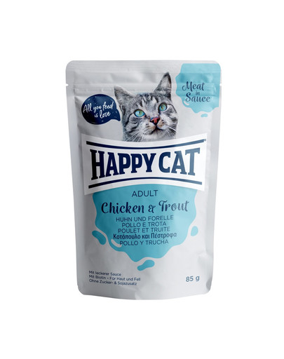 HAPPY CAT Meat in sauce Adult Chicken & Trout (Huhn & Forelle) 85 g 52836