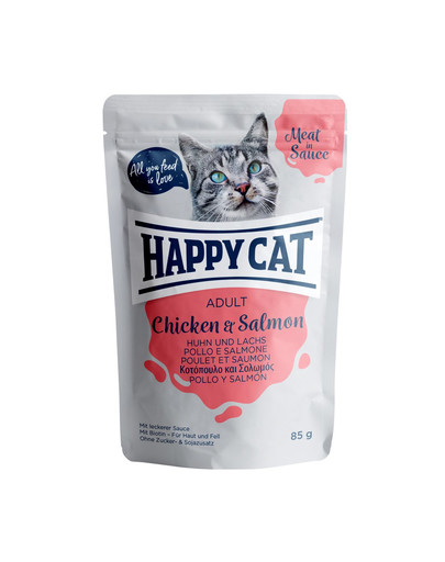 HAPPY CAT Meat in Sauce Adult Chicken & Salmon (Huhn & Lachs) 85 g 53679