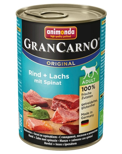 ANIMONDA GranCarno Original Adult RIND + LACHS MIT SPINAT 400 g